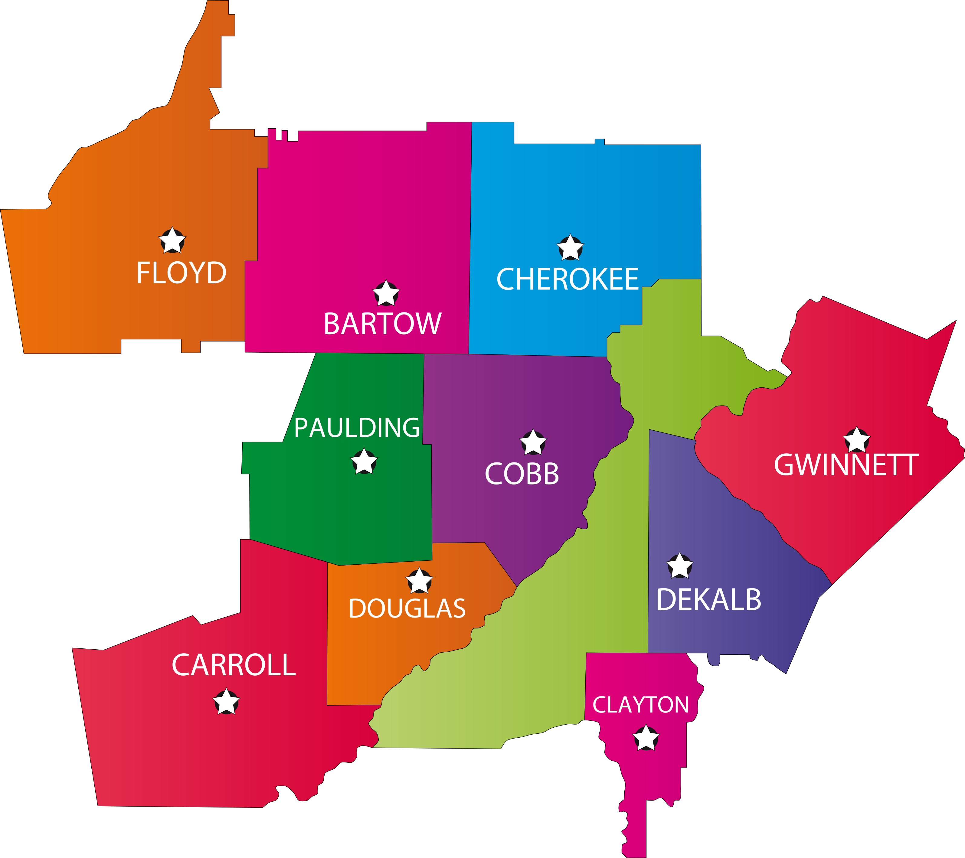 service areas covered map county